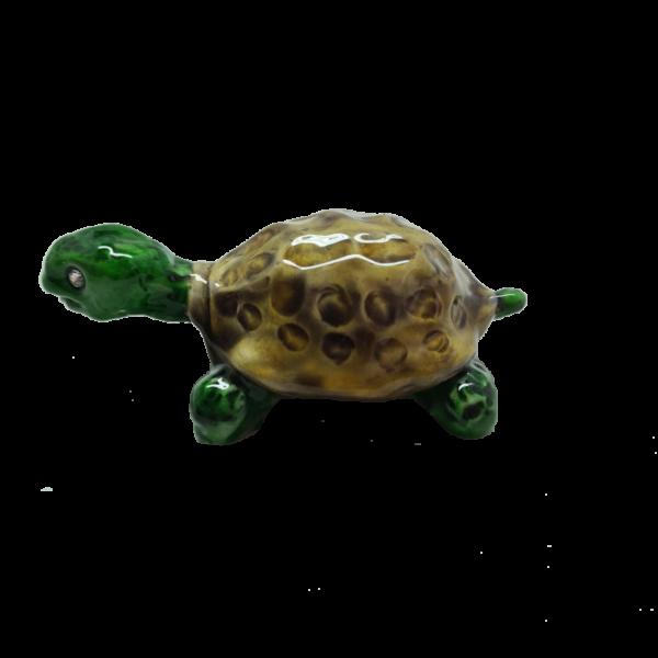 Tartaruga due colori in marmorina, smalti e strass